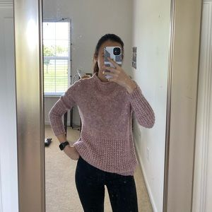 pink mock neck sweater from american eagle